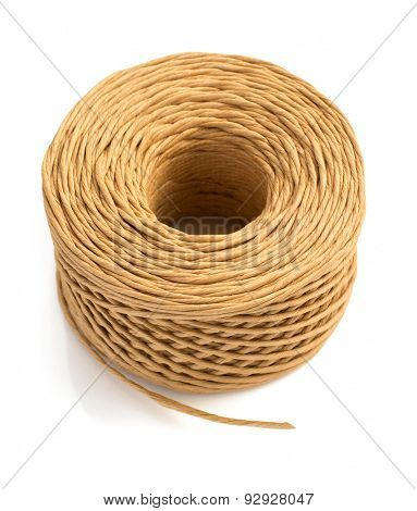 roll of twine cord isolated on white background
