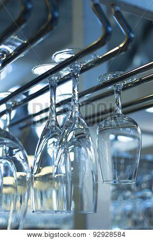 Upturned Champagne Wine Glasses In Restaurant Bar