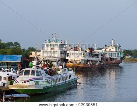 The Ferry Harbour In Sittwe, Myanmar