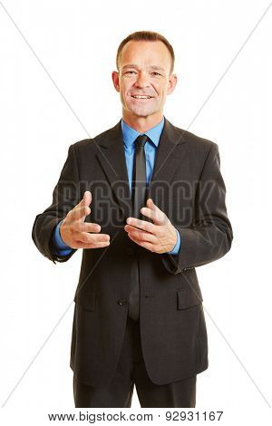 Business man talking during presentation and using hand gestures