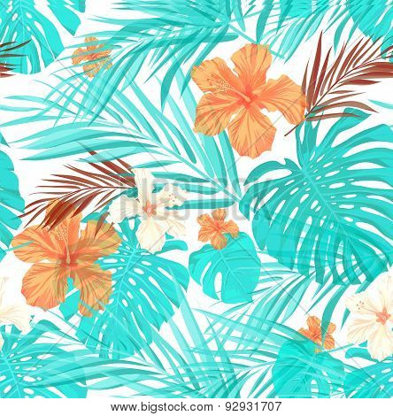 Bright seamless summer tropical pattern with palm tree leaves and hibiscus flowers
