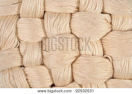 Beige Twisted Skeins Of Floss As Background Texture