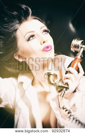 Sensual Woman And Golden Telephone