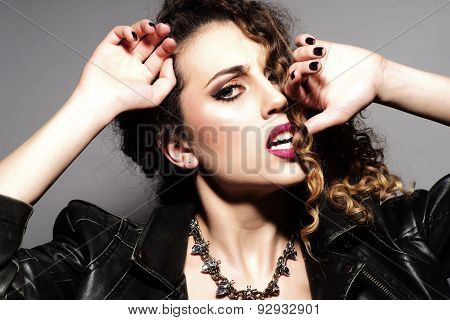 Seductive Girl With Curly Hair