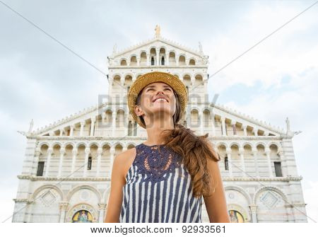 Woman Tourist Looking Up On The Piazza Dei Miracoli