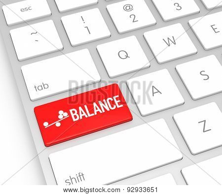 Computer Keyboard With Balance Button. 3D Rendering