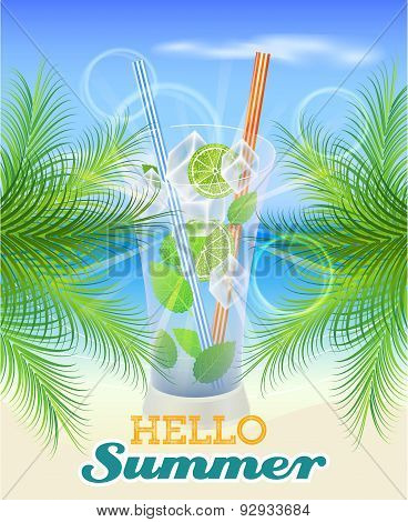 Summer background with palm leaves, drink and seaside