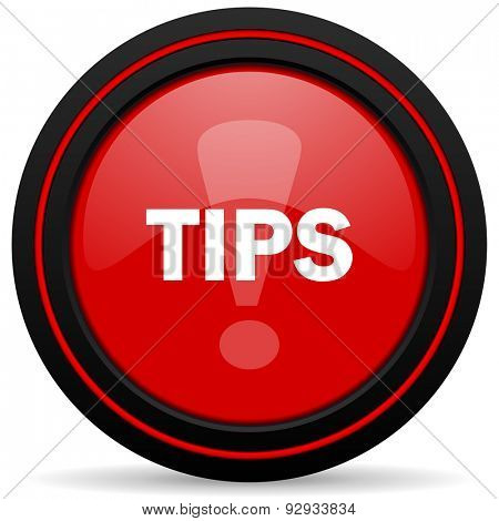 tips red glossy web icon