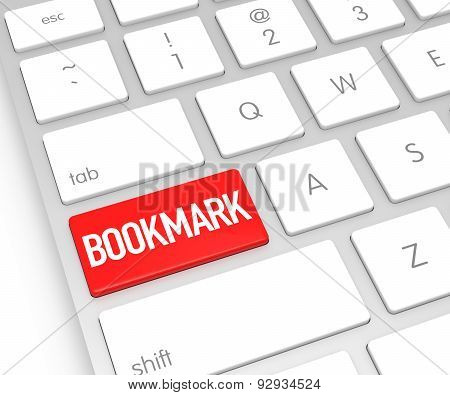 Computer Keyboard With Bookmark Button. 3D Rendering