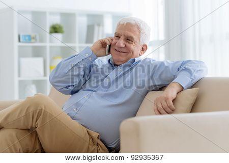 Calling senior man