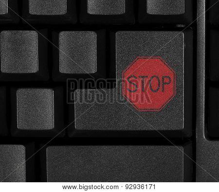 Stop symbol on computer key