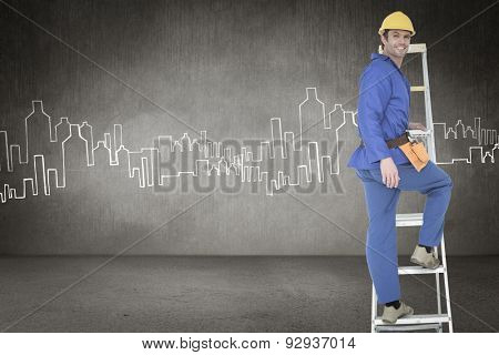 Portrait of repairman climbing step ladder against hand drawn city plan