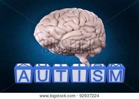 Autism building blocks against blue background with vignette