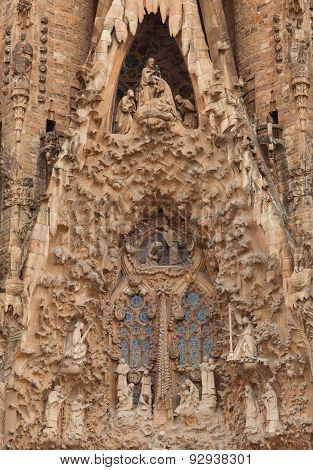 Fragments of Sagrada Familia church. Barcelona, Spain