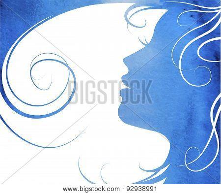 Watercolor Woman's Profile