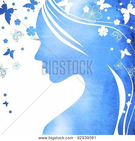 Young Girl Face Silhouette In Profile