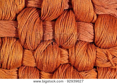 Brown Twisted Skeins Of Floss As Background Texture
