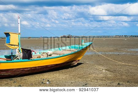 Fishing Boat With Jetty Background