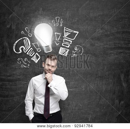 Confident Businessman Is Thinking About Optimisation Measures For Business. Turned Lightbulb And Que