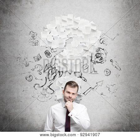 Confident Businessman Is Thinking About The Question Mark Which Consists Of The Contract Pages. Conc