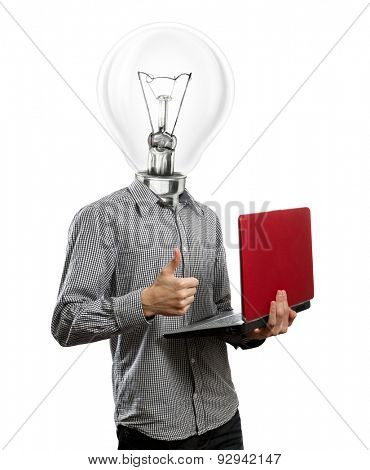 lamp head man with laptop in his hands shows well done