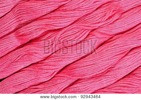 Pink Skeins Of Floss As Background Texture