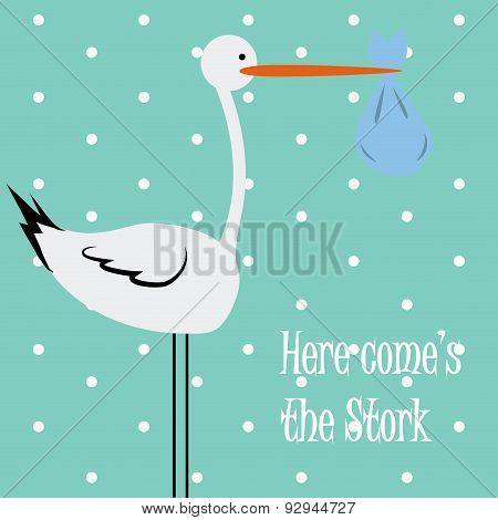 Baby background With Stork