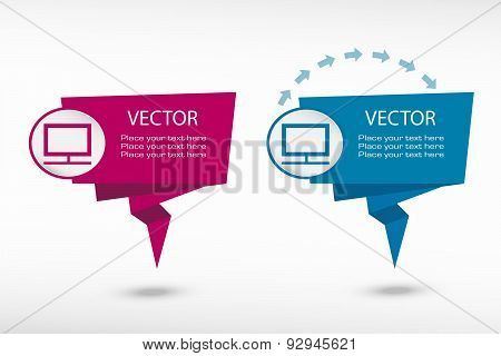 Monitor On Origami Paper Speech Bubble Or Web Banner, Prints