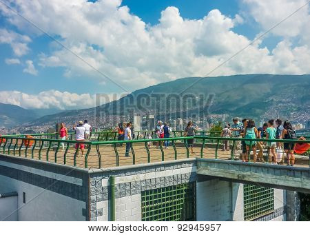 People At Gazebo In Nutibara Hill In Medellin