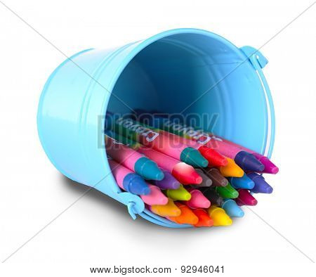 Colorful pastel crayons in holder isolated on white