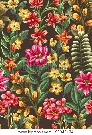 Floral seamless pattern with beauty flowers on dark background in watercolor style