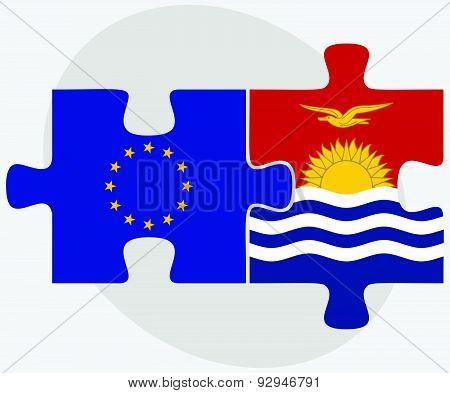 European Union And Kiribati Flags In Puzzle