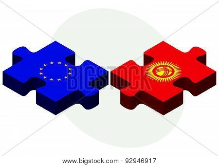 European Union And Kyrgyzstan Flags In Puzzle