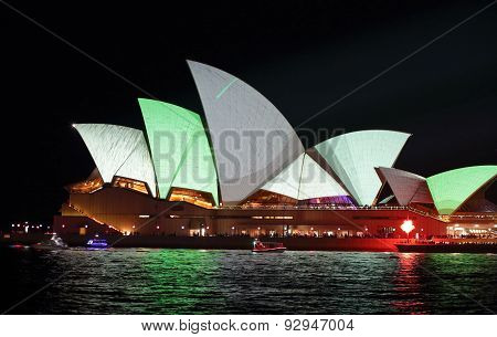 Sydney Opera House In Metallic Grey And Green