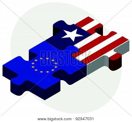 European Union And Liberia Flags In Puzzle