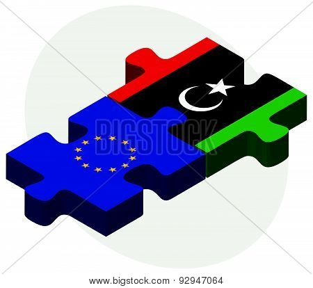 European Union And Libya Flags In Puzzle