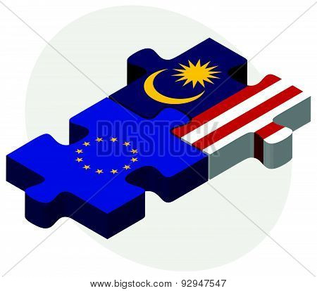 European Union And Malaysia Flags In Puzzle