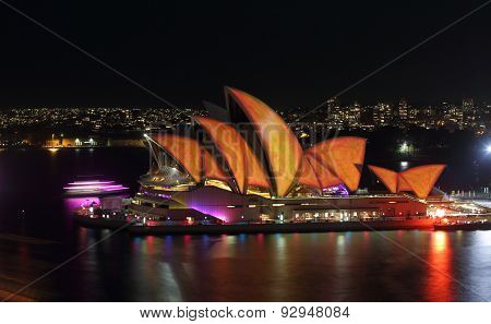 Sydney Opera House In Burnt Orange And Yellow Vivid Sydney