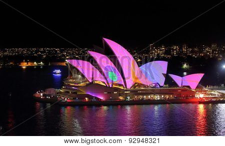 Sydney Opera House Pink With Splashes Of Colour