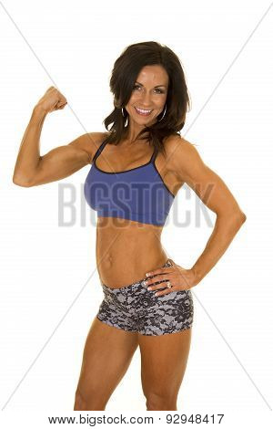 Woman Fitness Shorts And Bra Flex One Arm