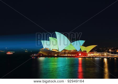 Sydney Opera House Illuminated Ilight Green And Aqua