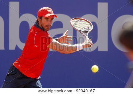 BARCELONA - APRIL, 23: Uruguayan tennis player Pablo Cuevas in action during a match of Barcelona tennis tournament Conde de Godo on April 23, 2015 in Barcelona