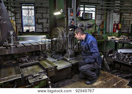 Drilling Of Steel Parts In  Turning Shop Metal Factories.