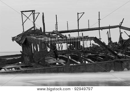 The Maheno Shipwreck On Fraser Island Beach, Australia