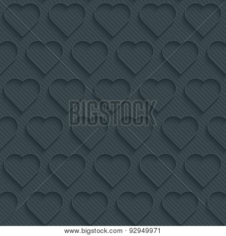 Hearts dark perforated paper with outline extrude effect. 3d seamless background. See others in My Perforated Paper Sets.