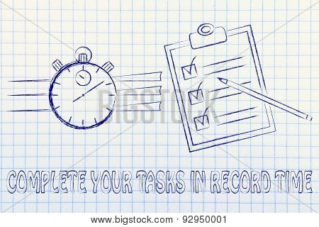 Stopwatch And To Do List, Complete Your Tasks In Record Time