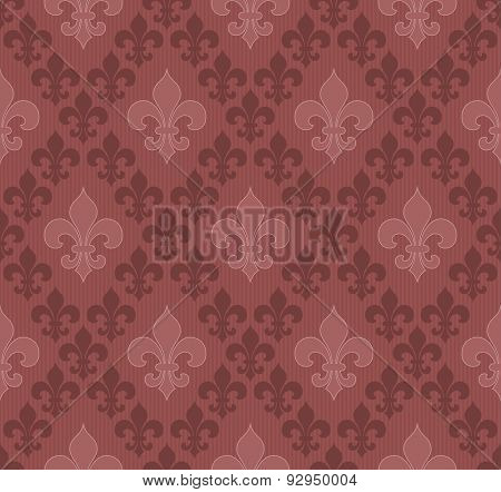 Marsala color Fleur De Lis classical wallpaper. Vector seamless background.