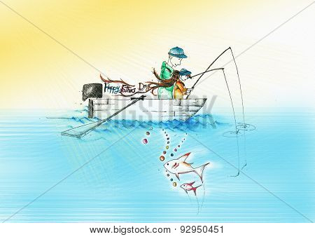 a father and a child fishing on a boat writing happy fathers day in a sunny day