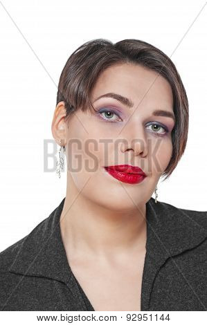 Portrait Of Beautiful Plus Size Woman Isolated
