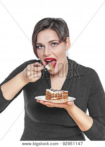 Beautiful Plus Size Woman Eating Cake Isolated